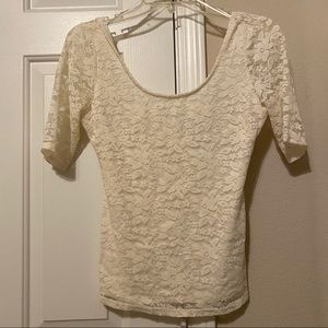 White criss-cross lace top by Guess